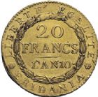 Photo numismatique  ARCHIVES VENTE 2014 -Coll J P Dixméras MONNAIES DU MONDE ITALIE REPUBLIQUE SUBALPINE (1800-1802) 1618- 20 francs or dite « Marengo », Turin an 10.