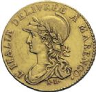 Photo numismatique  ARCHIVES VENTE 2014 -Coll J P Dixméras MONNAIES DU MONDE ITALIE REPUBLIQUE CISALPINE (1800-1802) 1617- 20 francs or dite « Marengo », Turin an 9.