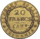 Photo numismatique  ARCHIVES VENTE 2014 -Coll J P Dixméras MONNAIES DU MONDE ITALIE REPUBLIQUE CISALPINE (1800-1802) 1617- 20 francs or dite « Marengo », Turin an 9.