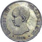 Photo numismatique  ARCHIVES VENTE 2014 -Coll J P Dixméras MONNAIES DU MONDE ESPAGNE ALPHONSE XIII (1886-1931) 1611- 5 Pesetas, 1888.