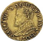 Photo numismatique  ARCHIVES VENTE 2014 -Coll J P Dixméras MONNAIES DU MONDE PAYS-BAS HOLLANDE, Philippe II (1555-1598) 1604- 1/2 real d'or, Dordrecht (1560-1562).