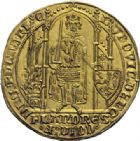 Photo numismatique  ARCHIVES VENTE 2014 -Coll J P Dixméras MONNAIES DU MONDE BELGIQUE FLANDRE, Louis de Mâle (1346-1384) 1594- Flandres d'or, Gand 1369-1370.