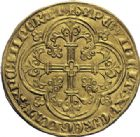 Photo numismatique  ARCHIVES VENTE 2014 -Coll J P Dixméras MONNAIES DU MONDE BELGIQUE FLANDRE, Louis de Mâle (1346-1384) 1591- Franc d'or ou Cavalier, Gand entre 1361 et 1364. r