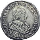 Photo numismatique  ARCHIVES VENTE 2014 -Coll J P Dixméras BARONNIALES Duché de LORRAINE CHARLES IV (1626-1634) 1585- Testons, Nancy 1627.