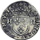 Photo numismatique  ARCHIVES VENTE 2014 -Coll J P Dixméras BARONNIALES Principauté des DOMBES HENRI II de Montpensier (1592-1608) 1576- Testons, 1605, *1606, *1607.