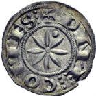 Photo numismatique  ARCHIVES VENTE 2014 -Coll J P Dixméras BARONNIALES Comté d'EMBRUN Bertrand II de Forcalquier (1150-1208) 1570- denier au besant.