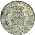 Photo numismatique  MONNAIES MONNAIES DU MONDE BELGIQUE ROYAUME, Léopold II. (1865-1909) 5 francs de 1869.