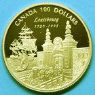 Photo numismatique  MONNAIES MONNAIES DU MONDE CANADA ELIZABETH II (depuis 1952) 100 dollars or de 1995. 275e anniversaire de Louisbourg.