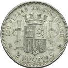 Photo numismatique  MONNAIES MONNAIES DU MONDE ESPAGNE GOUVERNEMENT PROVISOIRE (1868-1871) 2 pesetas de 1870.