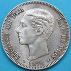 Photo numismatique  MONNAIES MONNAIES DU MONDE ESPAGNE ALPHONSE XII (1874-1885) 5 pesetas.