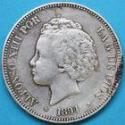 Photo numismatique  MONNAIES MONNAIES DU MONDE ESPAGNE ALPHONSE XIII (1886-1931) 5 pesetas de 1894.